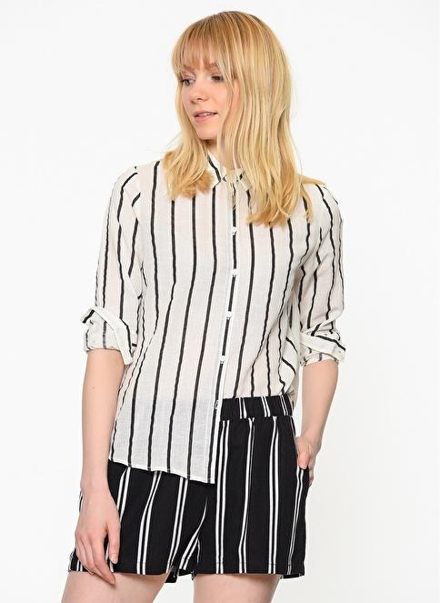 Vero Moda Çizgili Gömlek Beyaz